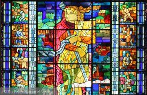 Symbol of Poland Reborn, Mieczysław Jurgielewicz, stained glass, before 1939