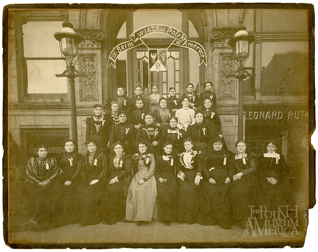 Photo: Delegates to the First National Convention of the Polish Women's Alliance, in front of the Pulaski Hall at 800 S. Ashland Ave, Chicago, IL, June 12, 1900. From the collection of the Polish Museum of America.