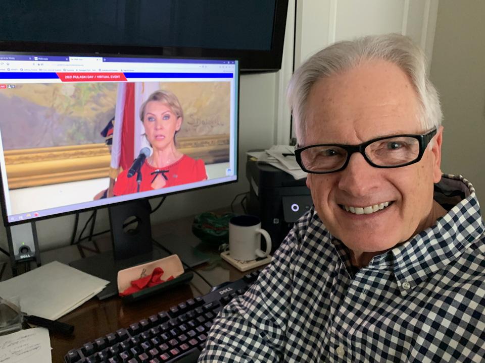 Selfie during 2021 Virtual Pulaski Day Commemoration